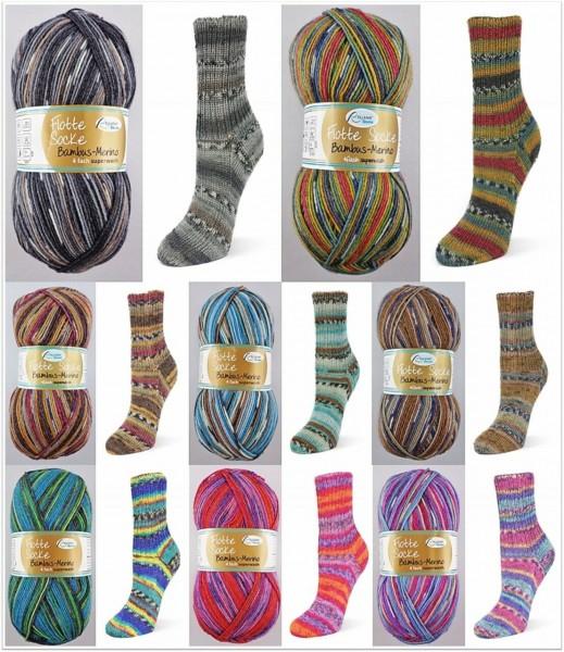 Rellana Flotte Socke Bambus Merino, 100g Sockenwolle 4-fach