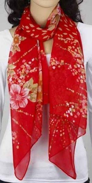 Schal - rot mit Blumen 343-10