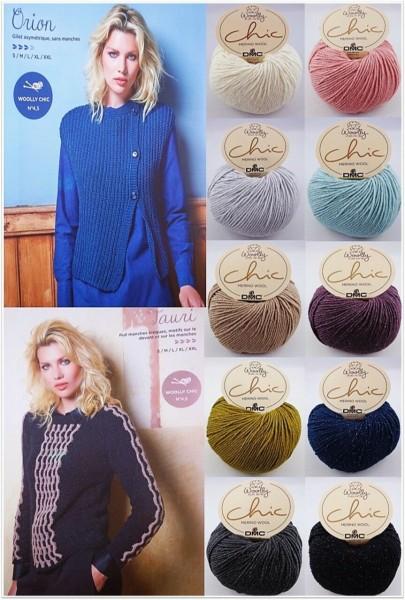 DMC Woolly Natural Knitting Chic Merino Wool , 50g Glitzergarn