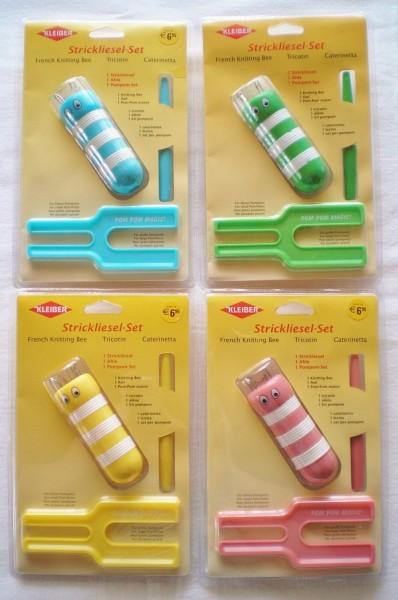 Kleiber Strickliesel-Set: Strickliesel, Ahle & Pompon-Maker