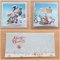 Diamond Painting 3D-Grußkarte Schneemänner mit Geschenke (fertig)