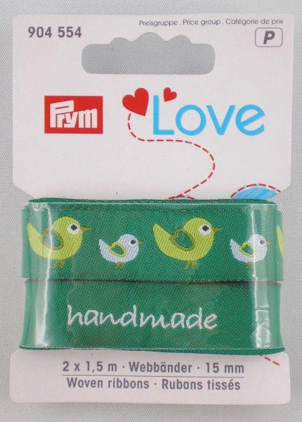 Prym Love Webbänder Vogel/grün-sortiert