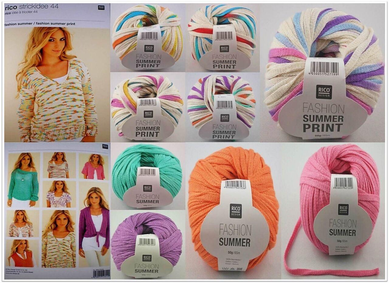Rico Design Fashion Summer Uni Print 50g Bandchengarn Bandchengarn Wolle Garne Strickmaus Jasmine