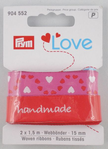 Prym Love Webbänder Herz/rot-sortiert