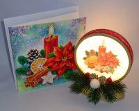 Weihnachtsdeko (handmade) mit passender Diamond Painting Grußkarte Kerze & Weihnachtsstern (fertig)