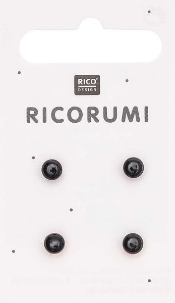 Ricorumi 4 Knopfaugen Braun-schwarz 5,0 mm