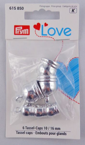 Prym Love 6 Tassel-Caps Silber Art. 615 850