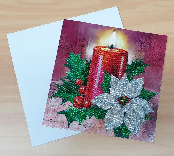 Diamond Painting (funkelnder Strass) Grußkarte Kerze & Weihnachtsstern (fertig)
