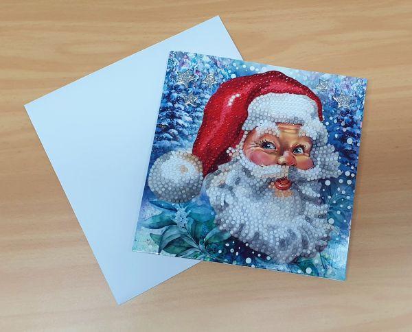 Diamond Painting Grußkarte Weihnachtsmann auf blauem Hintergrund (fertig)