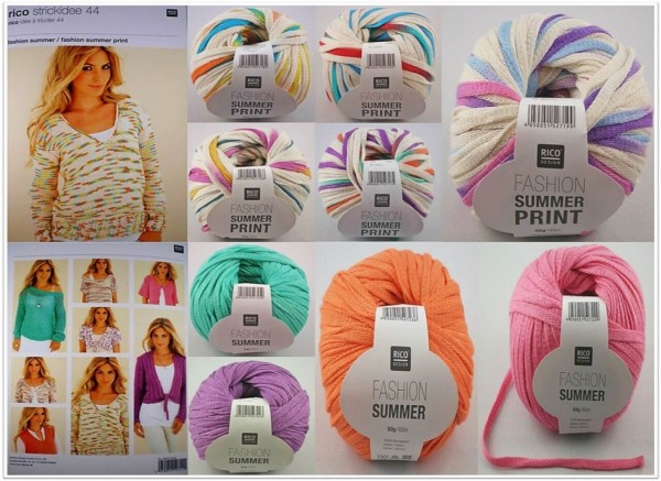 Rico Design Fashion Summer Uni & Print, 50g Bändchengarn
