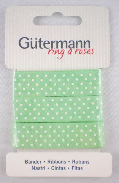 Bänder grün mit weißen Punkten 650331 Col.152