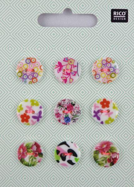 Rico Perlmuttknopfmix Floral 1,Ø 1,5 No. 891