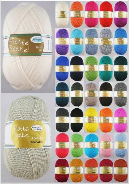 Rellana Flotte Socke Uni & Neon, 100g Sockenwolle 4-fach