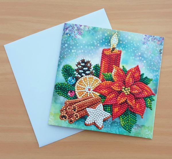 Diamond Painting Grußkarte Kerze & Weihnachtsstern (fertig)