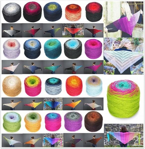 Rellana Regenbogen, 200g Bobbelwolle mit Farbverlauf, 4-fädig