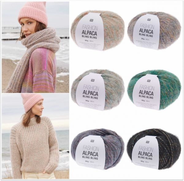 Rico Fashion Alpaca Bling Bling, 50g glitzerndes Wintergarn