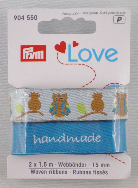 Prym Love Webbänder Eule/blau-sortiert