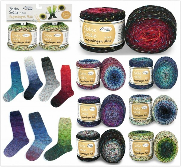 Rellana Flotte Socke Regenbogen Multi = Twin Bobbel, 100g (= 2x 50g) Sockenwolle 4-fach