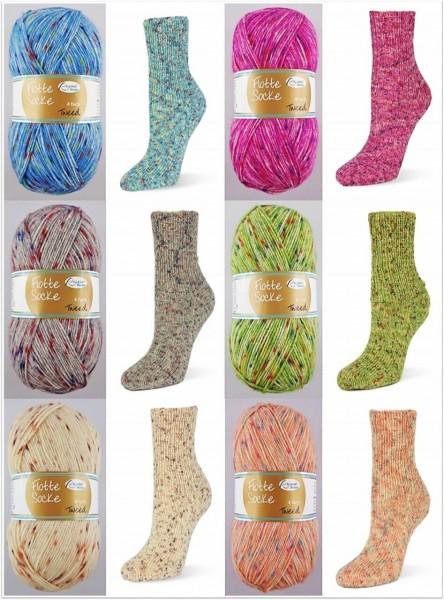 Rellana Flotte Socke Tweed, 100g Sockenwolle 4-fach