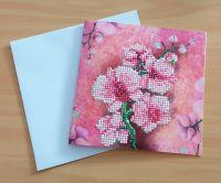 Diamond Painting Grußkarte Orchidee (fertig)