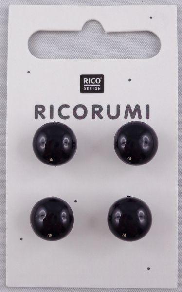 Ricorumi 4 Knopfaugen Braun-schwarz 11 mm