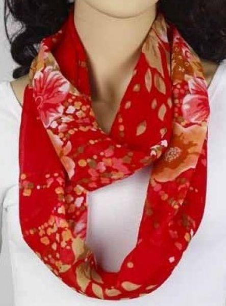 Loop-Schlauchschal rot mit Blumen 342-10