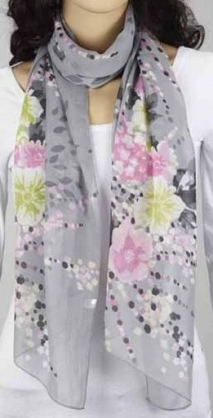 Schal - hell - grau mit Blumen 343-04