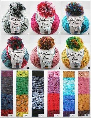 Rellana Fashion Pom Mützen-Set: 100g dickes Garn mit Farbverlauf + Pompon + Label
