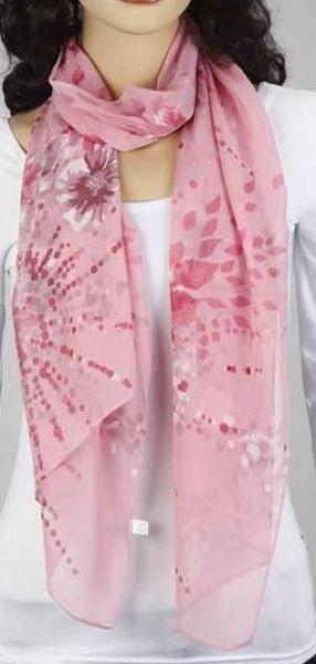Schal - rosa mit Blumen 343-22