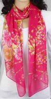 Schal - pink mit Blumen 343-08