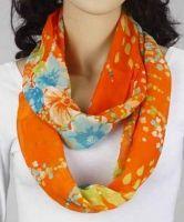 Loop-Schlauchschal orange mit Blumen 342-13