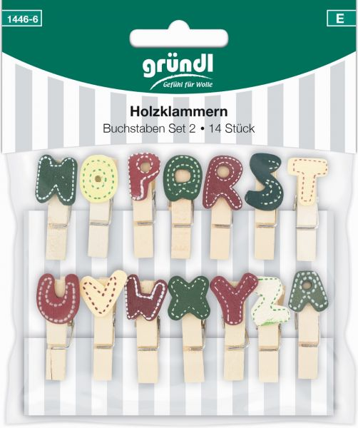 Gründl Holzklammern Set 2-Buchstaben 1446-6